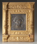 Bronze:American, ELIHU VEDDER (American, 1836-1923). Head of a Woman. Bronzerelief. 6-3/4 x 6-1/4 inches (17.1 x 15.9 cm). FROM THE JE...