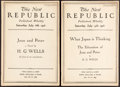 Books:Periodicals, [H. G. Wells, contributor]. Pair of Consecutive New RepublicIssues. New York: 1918. ...
