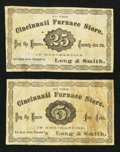 Obsoletes By State:Ohio, Cincinnati, (OH) - Cincinnati Furnace Store / Long & Smith 5¢and 25¢ ca. 1870. ... (Total: 2 notes)