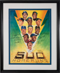 Autographs:Others, Circa 1986 500 Home Run Club Ron Lewis Multi Signed Lithograph....
