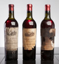 Red Bordeaux, Chateau Ausone 1936 . St. Emilion. 1ts, 1hs, 1fl, 1bsl,2hbsl, 1tal, 1tl-partially missing label, 1tl-mostly missing, 3-...(Total: 3 Btls. )