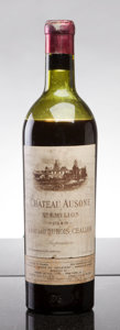 Red Bordeaux, Chateau Ausone 1949 . St. Emilion. ls, branding visiblebelow worn short lead capsule, outstanding color. Bottle (1). ...(Total: 1 Btl. )