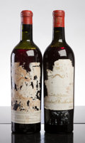 Red Bordeaux, Chateau Mouton Rothschild 1928 . Pauillac. 1hs, 1ts,2tal-partially missing, ex-Zachy's from the cellar of TawfiqKhoury... (Total: 2 Btls. )