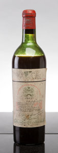 Red Bordeaux, Chateau Mouton Rothschild 1947 . Pauillac. mtls, bsl, nl,vintage tag clearly visible, worn capsule, outstanding color. ...(Total: 1 Btl. )