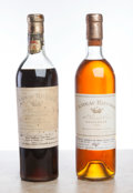 White Bordeaux, Chateau Rieussec. Sauternes. 1945 ms, bsl, fl, ssos, dark mahogany color Bottle (1). 1961 ts, lscl, light amber ... (Total: 2 Btls. )