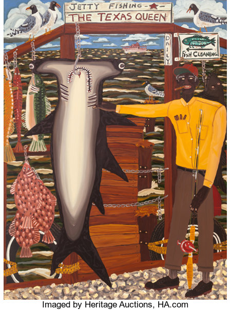 DAVID MICHAEL BATES (American, b. 1952)The Texas Queen, 1982Oil on canvas90 x 67 inches (228.6 x 170.2 cm)Signed...