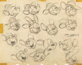 animation art:Model Sheet, The Little Whirlwind Mickey Mouse Model Sheet Art (Walt Disney, 1941)....
