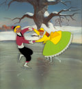 """Animation Art:Production Cel, So Dear to My Heart """"Once Upon a Winter Time"""" Joe and JennyProduction Cel (Walt Disney, 1948)...."""