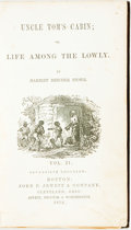Books:Literature Pre-1900, Harriet Beecher Stowe. Uncle Tom's Cabin; or, Life among theLowly. Boston: John P. Jewett, 1852. Volume two only. S...