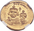 Ancients:Byzantine, Ancients: Heraclius (AD 610-641), with Heraclius Constantine (AD613-641). AV solidus (21mm, 4.44 gm, 6h)....