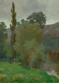 Fine Art - Painting, American:Antique  (Pre 1900), ALBERT DAKIN GIHON (American, 1866-1950). French Landscape withBrook, 1892. Oil on canvas. 18-1/4 x 13-1/4 inches (46.4...