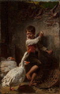 Fine Art - Painting, American:Antique  (Pre 1900), TOBY EDWARD ROSENTHAL (American, 1848-1917). Boy Frightened byGeese, 1877. Oil on canvas. 19-1/4 x 12-1/4 inches (48.9 ...