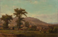 Fine Art - Painting, American:Antique  (Pre 1900), GEORGE FRANK HIGGINS (American, b. 1850). Haying in a NewEngland Landscape, circa 1870. Oil on canvas. 10 x 15 inches(...