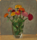 Fine Art - Painting, American:Contemporary   (1950 to present)  , ROBERT KULICKE (American, 1924-2007). Zinnias V, 1968. Oilon silk laid on board. 8-3/4 x 9-1/2 inches (22.2 x 24.1 cm)...