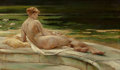 Fine Art - Painting, American:Antique  (Pre 1900), WALTER SHIRLAW (American, 1838-1909). The Lily. Oil on boardlaid on canvas. 12 x 20-1/4 inches (30.5 x 51.4 cm). Signed...