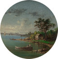 Paintings, AMERICAN SCHOOL (19th Century). Landscape with Fishermen, 1882. Oil on concave plaster rondel. 5-1/4 x 5-1/4 inches (13....