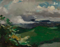 Fine Art - Painting, American:Modern  (1900 1949)  , ELLIOTT DAINGERFIELD (American, 1859-1932). Green Hills. Oilon board. 8 x 9-3/4 inches (20.3 x 24.8 cm). Bears inscript...