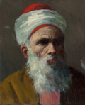 Fine Art - Painting, American:Antique  (Pre 1900), American School (19th Century). Head of a Bearded Man in aTurban. Oil on canvas laid on board. 12 x 9-1/2 inches (30.5...