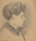 Fine Art - Work on Paper:Drawing, WILLIAM MCGREGOR PAXTON (American, 1869-1941). Harold Bauer atthe Piano. Pencil on paper. 9-3/4 x 8-1/2 inches (24.8 x ...