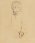 Fine Art - Work on Paper:Drawing, Lilian Westcott Hale (American, 1881-1963). Portrait of a YoungBoy. Pencil and charcoal on paperboard. 27-3/4 x 22-3/4 ...