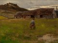Fine Art - Painting, American:Antique  (Pre 1900), J. HENRY SANDHAM (Canadian, 1842-1912). The Old Barn. Oil oncanvasboard. 14-1/4 x 15-1/2 inches (36.2 x 39.4 cm). Signe...