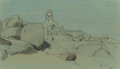 Fine Art - Work on Paper:Drawing, ROSS STERLING TURNER (American, 1847-1915). EgyptianLandscape. Pastel on green-gray paper. 7-1/2 x 12-1/2 inches(19.1 ...