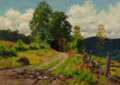 Paintings, WILLIAM MERRITT POST (American, 1856-1935). Country Road. Oil on canvas. 14-1/4 x 19-3/4 inches (36.2 x 50.2 cm). FROM...