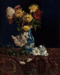 Fine Art - Painting, American:Antique  (Pre 1900), MARTHA WEST BARE (American, 1864-1940). Still Life withChrysanthemums in an Oriental Vase, circa 1885. Oil on canvas.2...