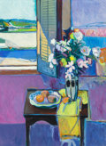 Fine Art - Painting, American:Contemporary   (1950 to present)  , ROBERT AARON FRAME (American, 1924-1999). Flowers andPersimmons. Oil on canvas. 54 x 40 inches (137.2 x 101.6 cm).Sign...