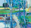 Fine Art - Painting, American:Contemporary   (1950 to present)  , ROBERT AARON FRAME (American, 1924-1999). Landscape with BlueTrees. Oil on canvas. 48 x 54 inches (121.9 x 137.2 cm). S...