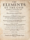 Books:Philosophy, Francis Bacon. The Elements Of The Common Lawes Of England, Branched into a double Tract; The One Containing a Collectio...