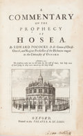 Books:Religion & Theology, Edward Pococke [and Edward Bernard.] A Commentary In TheProphecy Of Micah. [bound with:] A Commentary On Th...(Total: 2 Items)