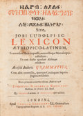 Books:Reference & Bibliography, Job Ludolph. [Ethiopic Text:] Lexicon Æthiopico-Latinum exomnibus libris impressis.... London, 1661....