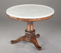 Furniture , A Charles X Marble Top and Marquetry Inlaid Center. . Early-mid 19th Century. Mahogany, satinwood, marble. ...