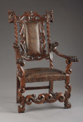 Furniture , A Venetian Rococo Style Carved Walnut Armchair. . Unknown maker, Italian. 19th century. Walnut. Unmarked. 47 inches (119.4 c...