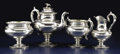 Silver Holloware, American:Tea Sets, An American Silver Four Piece Tea Set. Tiffany & Co., New York,New York. Circa 1854. Silver, ivory. Marks: TIFFANY & CO...(Total: 4 Items)
