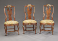 Furniture, Three Spanish Queen Anne Style Walnut Side Chairs. Unknown maker, Spanish. 19th century. Walnut. ... (Total: 3 Items)