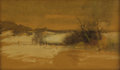 Fine Art - Painting, American:Modern  (1900 1949)  , JOHN FRANCIS MURPHY (American 1853-1921). Winter Landscape.Watercolor on brown paper. 5 x 8-1/4 inches (12.7 x 21.0 cm)...