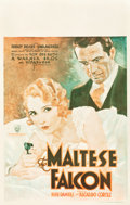 "Movie Posters:Crime, The Maltese Falcon (Warner Brothers, 1931). Window Card (14"" X22"").. ..."