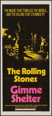 "Gimme Shelter (20th Century Fox, 1970). Australian Daybill (13"" X 30""). Rock and Roll"