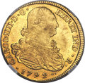 Colombia, Colombia: Charles IV gold 8 Escudos 1792 P-JF AU58 NGC,...