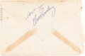 Music Memorabilia:Autographs and Signed Items, Elvis Presley Signed Envelope, 1955....