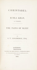 Books:Literature Pre-1900, S[amuel] T[aylor] Coleridge. Christabel: Kubla Khan, a Vision;The Pains of Sleep. London: Printed for John Murr...