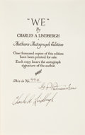 "Books:Biography & Memoir, Charles Lindbergh. Author's Autograph Edition ""WE"". New York and London: G. P. Putnam's Sons, 1927...."