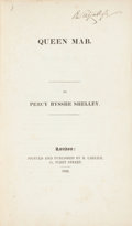 Books:Literature Pre-1900, Percy Bysshe Shelley. Queen Mab. London: Printed andpublished by R. Carlile, 1822....