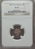 Canada:New Brunswick, Canada: New Brunswick. Victoria 10 Cents 1864 XF45 NGC,...