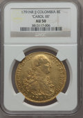 Colombia, Colombia: Charles IV gold 8 Escudos 1791 NR-JJ AU50 NGC,...