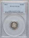 Seated Half Dimes: , 1863 H10C VG10 PCGS. PCGS Population (3/172). NGC Census: (0/113). Mintage: 18,000. Numismedia Wsl. Price for problem free ...