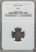 Seated Half Dimes: , 1844-O H10C Fine 12 NGC. NGC Census: (2/24). PCGS Population (4/67). Mintage: 220,000. Numismedia Wsl. Price for problem fr...