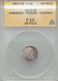 Early Half Dimes, 1803 H10C Large 8 -- Cleaned, Damaged, Tooled -- ANACS. Fine 12Details. NGC Census: (0/42). PCGS Population (5/82). Mintag...